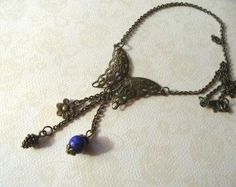 Butterfly choker necklace, lapis lazuli choker necklace, pine cone choker necklace, bronze lace butterfly