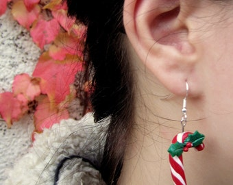 Candy cane earrings, christmas jewelry, sweet polymer clay, x-mas polymer clay, polymer clay jewelry