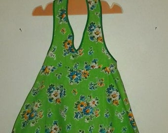 "Green floral Halter dress ""french Vintage 60's-70's"" dress that turns / new old Stock / size 5 """""