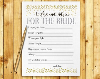 Bridal Shower Game Download - Advice & Wishes for the Bride - Silver and Gold Glitter - Instant Printable Digital Download - diy Printables