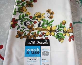 Vintage Floral Tablecloth in Earthy Hues with Original Tag