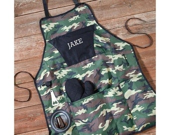 Personalized Aprons for Men - Camo BBQ Apron - Cooking Apron - Chef Apron - Gifts for Men