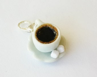 Black Coffee Cup Charm - Polymer Clay Food Jewelry Cup of Coffee Charm - Miniature Food Jewelry - Coffee Jewelry