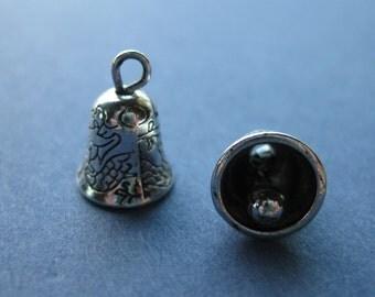 10 Bell Charms - Bell Pendants - Bell - Bells - Silver Bells - Antique Silver - 13mm x 9mm - (No.98-10266)