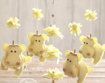 Hippo Crib Mobile, Yellow Nursery Decor, Baby Boy Mobile, Baby Girl Mobile, Baby Crib Mobile, Handmade Nursery Mobile, FREE SHIPPING, ip16