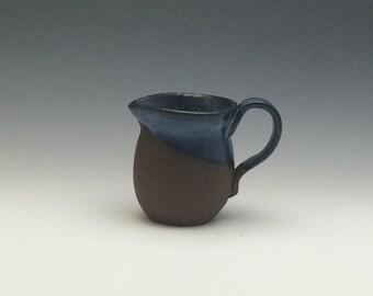 Small Chocolate Stoneware Creamer with Blue/Bronze Glaze, Small Pottery Pitcher, Pottery, Ceramic Pitcher - Creamer