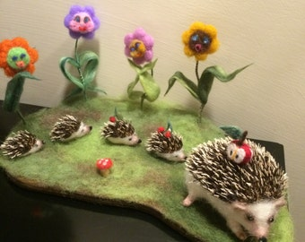 Needle felted hedgehog, soft sculpture, family of hedgehogs on flower field, felt animals, baby hedgehog, gift, home decor, plush toy