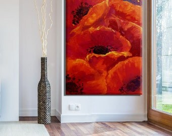 Large Wall Art Canvas Painting, Flower Painting, Flower Wall Art, Oil Painting Abstract Flowers, Large Painting, Large Canvas Art