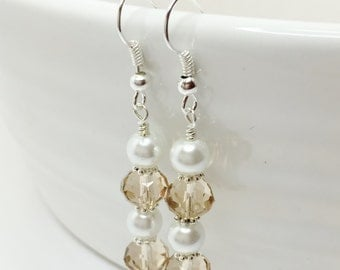 Topaz Crystal and Pearl Earrings Champagne Drop Earrings Topaz Bridesmaid Gift Mother of the Bride Topaz Jewellery Set Bridal Party Gift