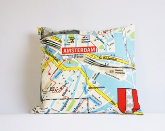 Amsterdam pillow cover, map of Amsterdam, cushion cover, throw pillow cover, size 16 by 16, central station, map cushion