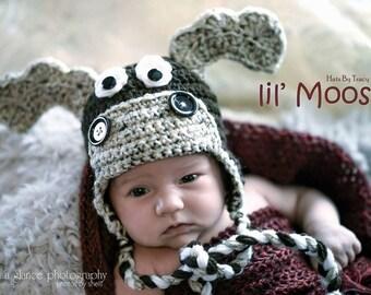 Moose Crochet Hat, Camo Reindeer, Newborn Hat and Photo Prop