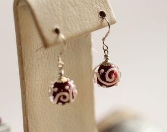 Beautiful red lampwork earrings with sterling silver hooks