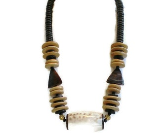 1980's Chunky Tribal Wood And Shell Bead Necklace