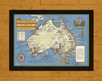 Get 1 Free Print *_* Map Australia 1942 - Ancient Map Wall Art Antique Map Poster Old Map Prints Australia Map Australia Poster Gift Idea