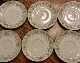 """Six Sterling Fine China Florentine Pattern 5 7/8"""" Saucer Plates Made in Japan"""