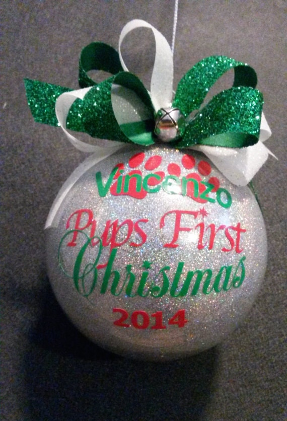 Fun Personalized Pup's First Christmas Ornament