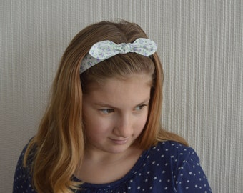 Fabric bow hair band/Bow headband/Girls pretty floral hair band with elasticated back