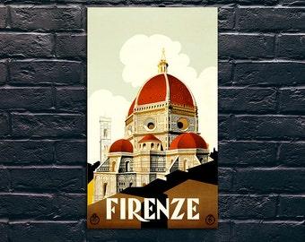 Firenze Italy Travel Poster, Travel Print, Tourism Wall Art, Vintage Travel Poster Print, Sticker and Canvas Print