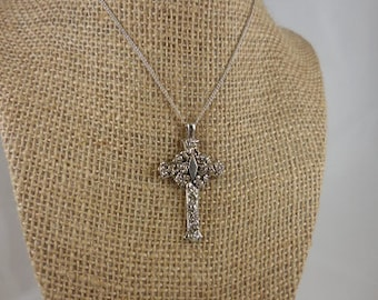 Sterling Silver Religious Cross Pendant Necklace