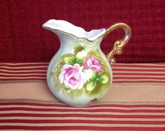 Mini Lefton China Hand Painted Heritage Rose Pitcher Gold Handle 4577 Trademark Exclusive Japan