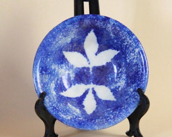 Small Blue Ceramic Bowl with White Leaves Signed Artist CMB - 90
