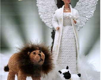 Crochet Peace Angel fashion doll dress pattern, fits Barbie dolls. Includes crocheted dove, lion and lamb patterns! Annie's Attic 870517.