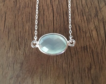 Aquaholic Necklace - Sterling Silver Necklace with Faceted Aqua Chalcedony Stone Pendant Set in sterling silver frame
