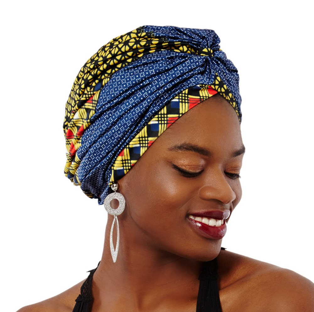 African Turban Headwrap Oversized Presewn Silk Ankara Turban