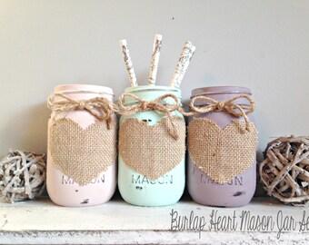 CUSTOM Burlap Heart Mason Jar Set- Pint Size- You Choose Colors