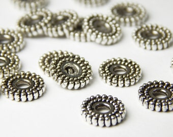 40 Pcs - 6mm Tibetan Silver Spacer Beads - Disc Spacers - Metal Spacer Beads - Jewelry Supplies
