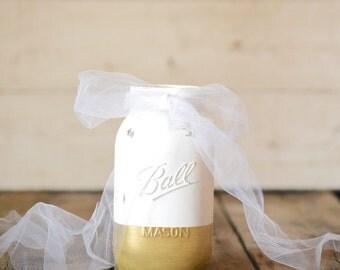 Gold and White Mason Jar Wedding Centerpiece Rustic Decor Farmhouse Painted