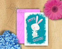 Easter Printables, Easter bunny, Easter card, easter decor, Bunny card, Easter greeting card, Rabbit art, Cute bunny art, Funny easter card
