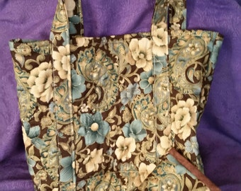 Floral quilted bag, floral tote bag, floral book tote, quilted project bag, quilted tote set, floral project bag, quilted tote and wallet