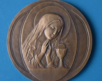 1st Communion Medallion Signed F. Rasumny Bronze 1900 Chalice Wheat Grapes Gift Paris Exposition Universal Vintage