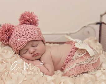 Baby girls' clothing..Baby Girl Pom Pom Hat & lace bow Bloomer..Crochet  pearl pom pom  Hat.. vintage Girl Photography Prop .. infant hat