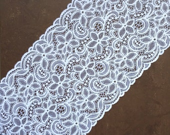White Stretch Lace, White Lace Fabric, Elastic Lace White, Wide Lace Trim, Wedding Lace, width 9,44 inch, lace 24 sm, lace per metre, Nr2486