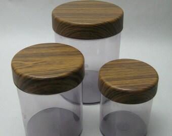 Vintage Canister Set & Matching Breadbox Italian Robex Faux Wood Grain Melamine Bread Box Sugar, Coffee, Tea, Flour Storage