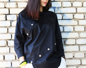 Black Loose Shirt / Long Sleeves Top /Extravagant Shirt / Asymmetrical Shirt/Black Tunic/ Oversized Shirt by Fraktura B0002