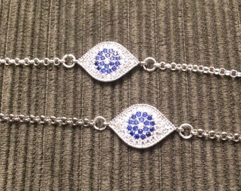 Adorable Mini Pave Cubic Zirconia Silver Evil Eye Pendant Bracelet Adjustable