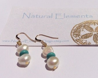 Button pearl with turquois