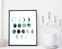 Moon phase wall art, moon art print, watercolor poster, home wall decor, apartment wall art, modern print, moon poster, simple, gift