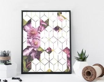 Purple flower geometric art print, clematis, floral illustration print, home wall decor, apartment decor, modern wall art, gift,