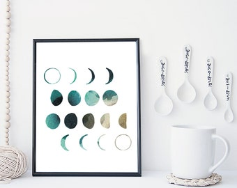 Moon phase wall art, moon art print, watercolor poster, home wall decor, apartment wall art, modern print, moon poster, simple, gift
