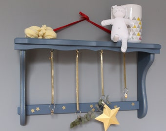Blue shelf - wear coats - storage for a baby or kids room