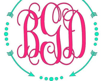 Monogramed decal with arrows