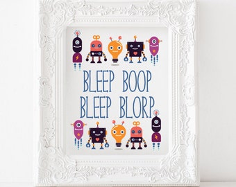 Robot print, Robot printable, Robot decor, Robot art, Robot nursery print Robot kids room print, bleep bloop print, bleep bloop printable