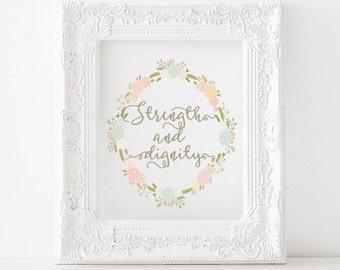 Strength and dignity Printable, Strength and dignity print, Proverbs 31 printable, Proverbs 31 print, scripture printable, christian print
