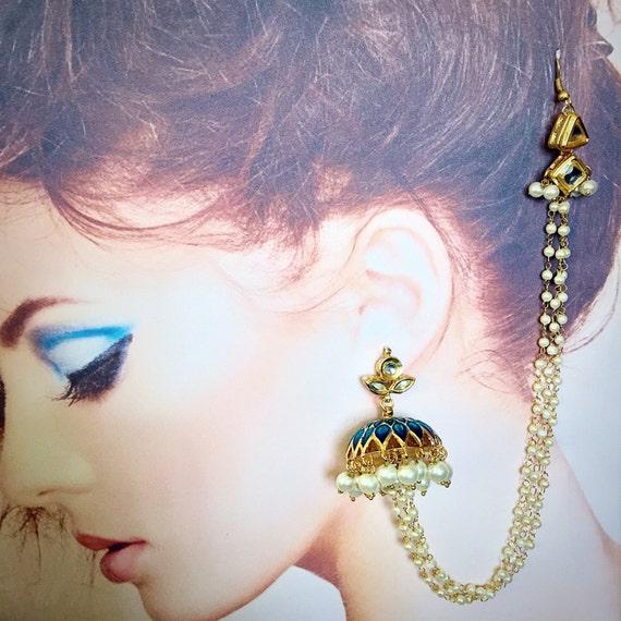 Blue Jhumka Earrings Ears To Hair Bollywood Indian