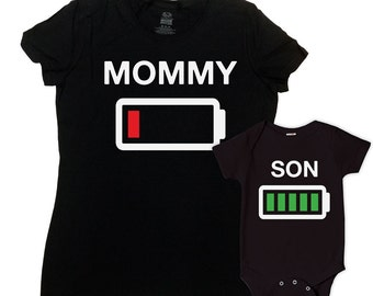 Mother And Son Matching Outfits Mommy And Me Clothing Mom And Baby Gifts For New Mom Gift Ideas Battery Empty Full Bodysuit - SA648-649