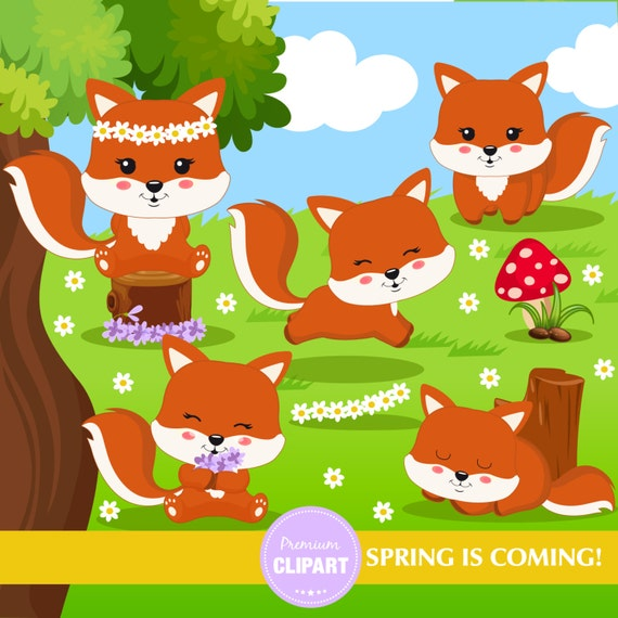 Items similar to Spring clipart, Fox clipart, Spring ...